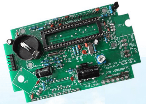 An image of a printed circuit board assembly (PCBA).